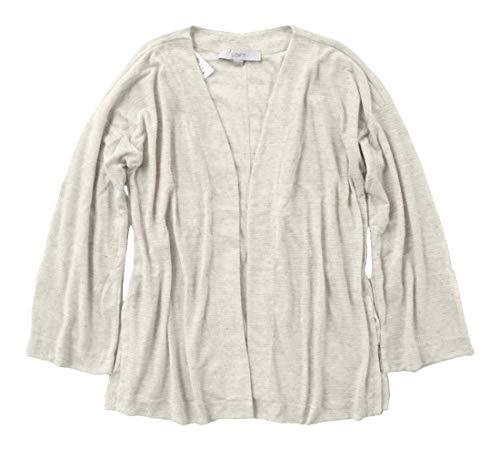 - Ann Taylor LOFT - Women's - Oatmeal Linen Blend Bell Sleeve Open Cardigan Sweater (X-Large)