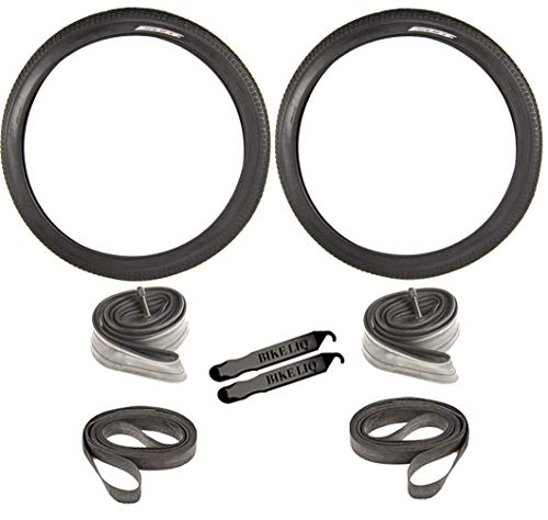 (OEM Beach Cruiser 927 Durable Stable Wire Bead Black Sidewall 26 x 2.125 Replacement Bike Tire Tube Rim Strip Lever Kit Bundle)