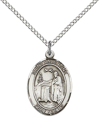 F A Dumont Sterling Silver St. Valentine of Rome Pendant with 18