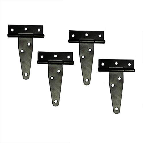 T&B T-Strap Heavy Duty Shed Hinge Gate Strap Hinge Door Barn Gates Hinges Black Wrought Hardware Iron Rustproof 4PCS (Black Iron Door Hinges)