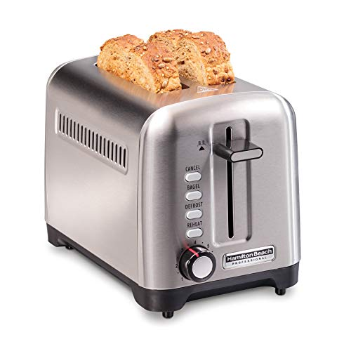 Hamilton Beach Professional Professional 2 Slice Toaster, with Bagel, Defrost & Reheat Settings, Stainless Steel (22990)