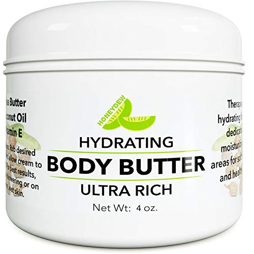 Pure Body Butter Cream for Women and Men – All Natural & Fragrance Free Moisturizer for Dry Skin with Shea Butter + Coconut Oil & Vitamin E – 5 Oz