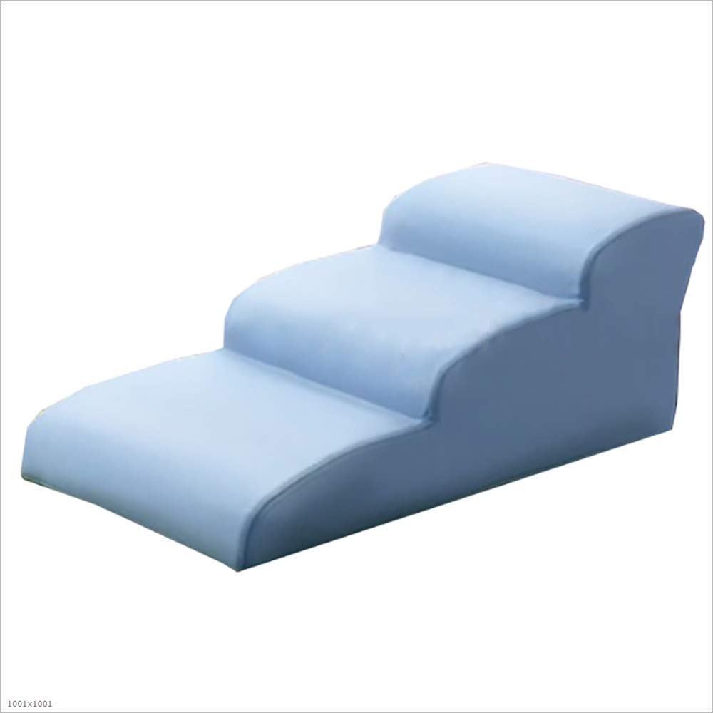 bluee PU Leather Dog cat Stairs, for The Sofa 3 Step Dog cat Step Bed Fan-Shaped ramp Bed, Sofa, Smaller and Larger Dog,bluee