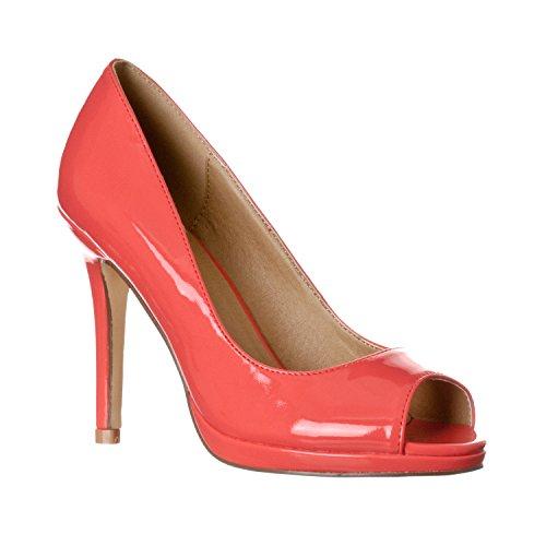 Riverberry Women's Julia Slight Platform Open Toe High Heel Pumps, Coral Patent, 9
