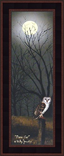Home Cabin Décor Barn Owl by Billy Jacobs 9x21 Midnight Night Time Full Moon Fence Post Autumn Fall Seasons Framed Folk Art Print Picture - Fence Post Art