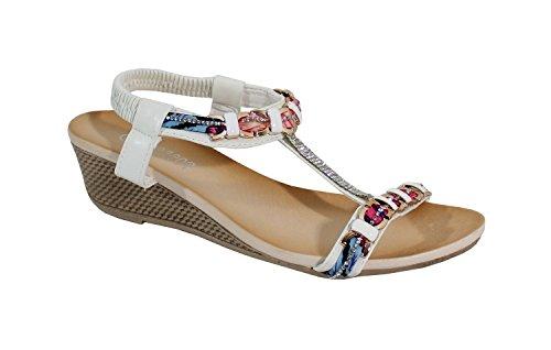 Shoes Blanc Sandale Style Compensée ChicFemme By Bohème PXZiku