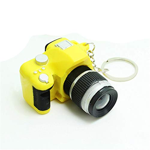 Acamifashion Cute Mini Digital Single Lens Reflex DSLR Camera Style LED Flash Light Keychain - Yellow