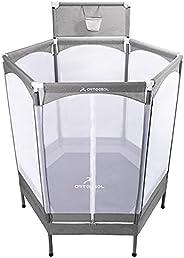 """arteesol 60"""" Hexagon Mini Trampoline Kids Indoor/Outdoor Baby Bouncer Jumper with Enclosure Net Elastic Safety"""