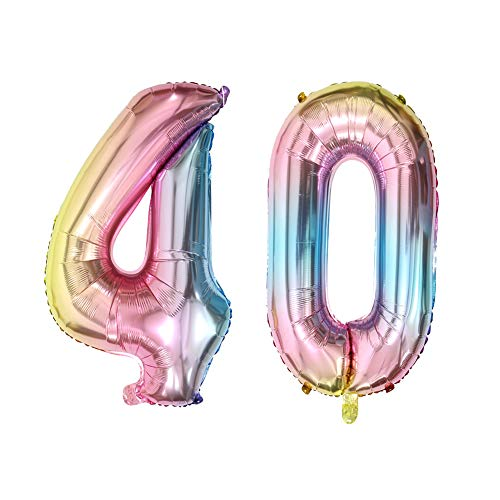 Number 40 Balloons 40th Birthday Party Decorations Rainbow Color Foil Mylar Balloon for Anniversary Party Decor (40inch Number -