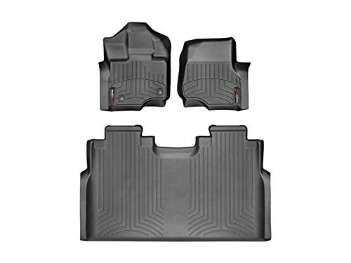 2015-2018 Ford F-150-Weathertech Floor Liners-Full Set 1st Row Bucket Seating (Includes 1st and 2nd Row)-Fits Supercrew Models Only-Black (Weather Seating)