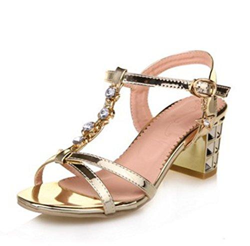 - Easemax Women's Sweet Metallic Rhinestones Ankle Buckle T-Strap Slingback Mid Chunky Heel Sandals Gold 8 B(M) US