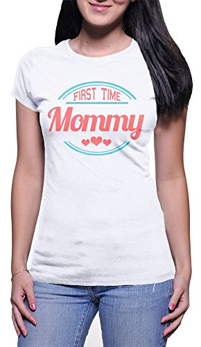 Camiseta Mujer First Time Mommy - Camiseta divertida Madre 100% algodòn LaMAGLIERIA Bianco