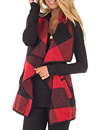 Womens Lapel Open Front Sleeveless Plaid Vest Cardigan With Pockets