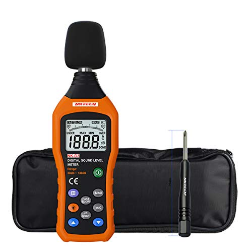 - NKTECH NK-D3 Digital Sound Level Noise Meter Logger Tester Audio Decibel Monitor 30-130 dB Accuracy 1.5dB With Large LCD Screen Display Fast/Slow Selection + TL-1 Screwdriver