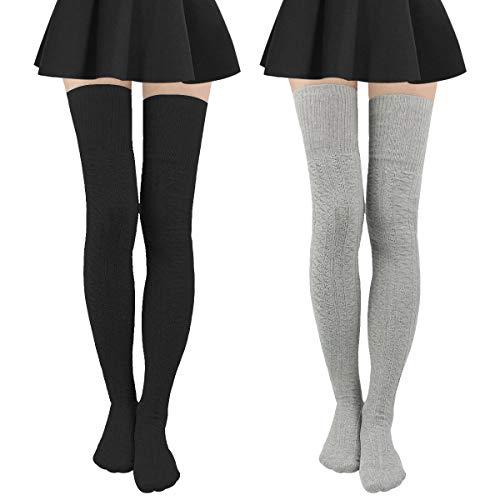 - Womens Stripe Knee-High Socks - Leg Warmer Dresses Knit High Stockings Cosplay Socks (black+ light gray)
