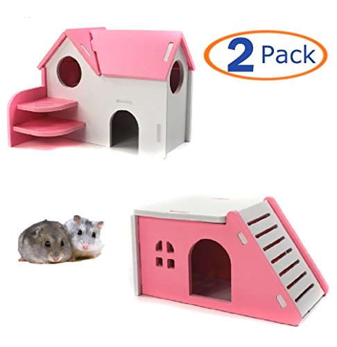 Wooden Hamster House,Hideout Hut Exercise Natural Funny Nest Toy(Pack of 2) (pink) - Hut House
