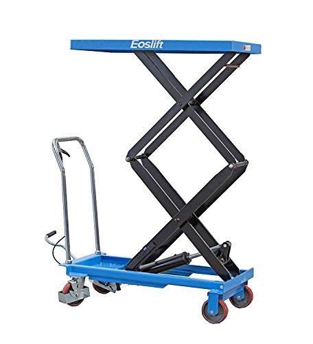 DAZONE Manual Hydraulic Scissors Lift Table Carts - 770 lb Max Load Capacity, High-Lift Double-Scissor, Hydraulic Foot Pump, Blue ()