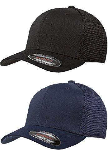 Flexfit 6533 Ultrafibre & Airmesh Fitted Cap, 2pack 1-black & 1-navy - Small/Medium