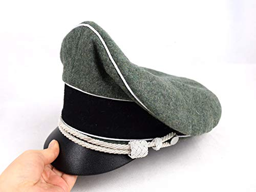 (Replica WW2 German Army Field Marshals Generals Officers Crusher Field Visor Hat Cap W White Pipe Silver Chin Cord (57cm))