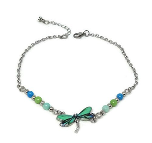 Dragonfly Anklet with Blue and Green Jade Beads - Ankle Bracelet with Enamel Dragonfly Charm - Holiday, Vacation, Beach Gift