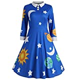 ShenPr Women's Long Sleeve Casual Peter Pan Collar Fit and Flare Skater Dress Sun Moon Star Print Vintage Dress