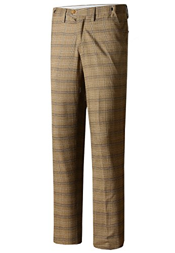 Hanayome Mens Slim Fit 4-Pocket Brown Plaid Pants 2017 Fashion Suit Separate Dress, Brown, 29W x (Cotton Plaid Trousers)