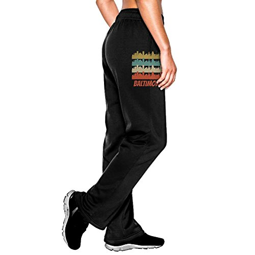 AKKK47 Retro Baltimore MD Skyline Women's Cotton Jersey Sweatpant Jogger Pant With Pockets Black - Of Airport Map Baltimore