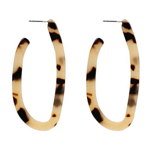 Enameljewelries Acrylic Resin Hoop Stud Earrings Lightweight Bohemian Geometric Earrings Tortoise Shell Earrings for Women