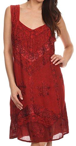 Sakkas 1503 - Sudha Stonewash Embroidery Mid Length Adjustable Dress - Red - 1X/2X