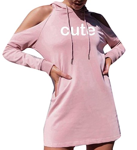 Mini Cold Sweatshirt Women's Domple Pink Party Long Hoodies Shoulder Dress Sleeve R714aw