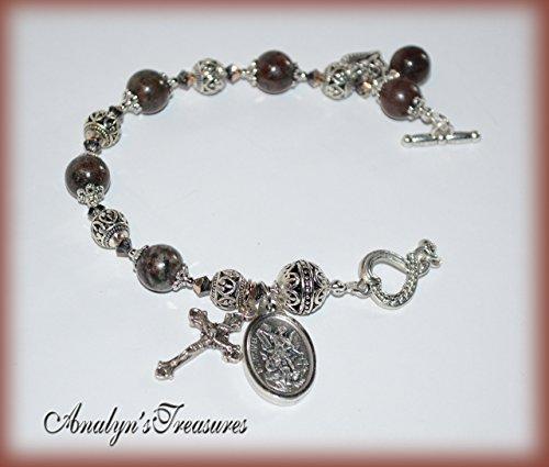 - St. Michael Rosary Bracelet, Rosary Bracelet, Natural Garnet Rosary, Choose Saint, Charm and Wrist Size, Catholic Rosary, Garnet Bracelet, Catholic Jewelry, Catholic Gift