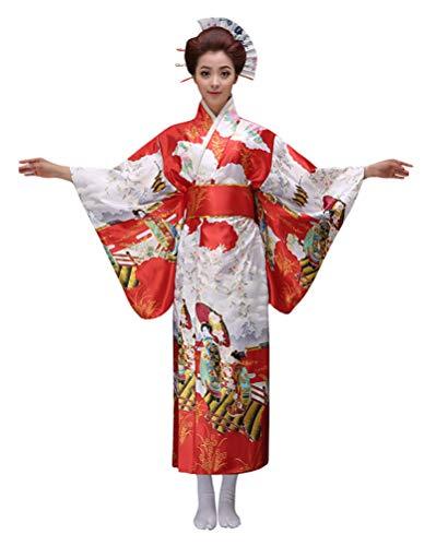 Women's Japanese Traditional Kimono,Halloween Party Cosplay Dress Geisha Kyoto Yukata Sakura Long Robe(L,Red)