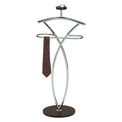 Pilaster Designs - Walnut Finish Wood & Metal Suit Valet Rack Stand Organizer