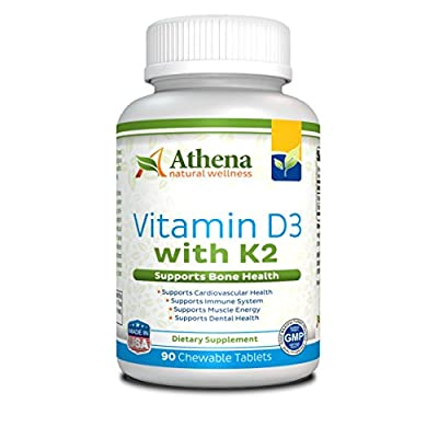 Athena - Vitamin D3 2000IU With K2 ( MK7 ) - Vitamin D & K Complex - 90 Chewable Tablets - Supports Immune System, Muscle Energy, Strong Bones and Healthy Dental - Non GMO