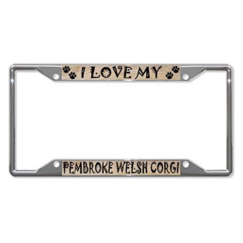 PEMBROKE WELSH CORGI Dog Chrome License Plate Frame Tag Holder Four Holes