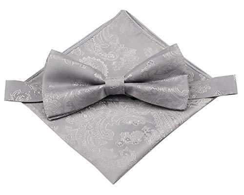 Mens Silk Paisley Bowtie and Pocket Square Set- Various Colors (Silver Gray)
