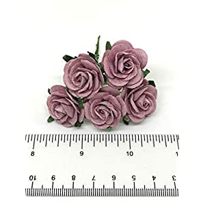 """1"""" Mauve Paper Flowers Paper Rose Artificial Flowers Fake Flowers Artificial Roses Paper Craft Flowers Paper Rose Flower Mulberry Paper Flowers, 20 Pieces 3"""