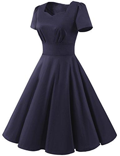 Dresstells Vendemmia 1950 Abiti Da Ballo Di Colore Solido Maniche Corte Retrò Audery Vestito Dall'oscillazione Della Marina