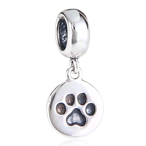 Puppy Dog Paw Charms 925 Sterling Silver Animal Paw Pendant Pet Charm for Bracelets