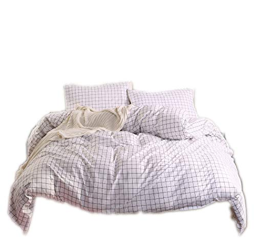 RheaChoice Ins White Plaid Checkered Girls 2 Piece Duvet Cover Set,Twin (68''x90'')-(1 Duvet Cover + 1 Pillow Shams)-Ultra Soft Hypoallergenic Microfiber by RheaChoice