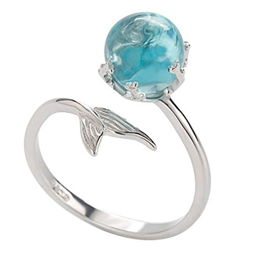 meiyuan Womens Fashion Mermaid Tail with Blue Rhinestone Bubble Adjustable Opening Finger Ring Gift Silver