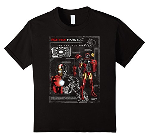 Kids Iron Man Armor Plated Suit Blue Print Schematic T-Shirt 6 Black -
