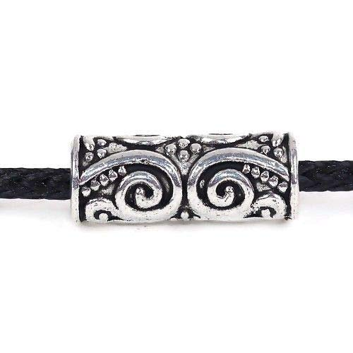10 Tibetan Silver 20x8mm Fancy Swirls Tube Spacer Metal 3.4mm Big Hole Beads
