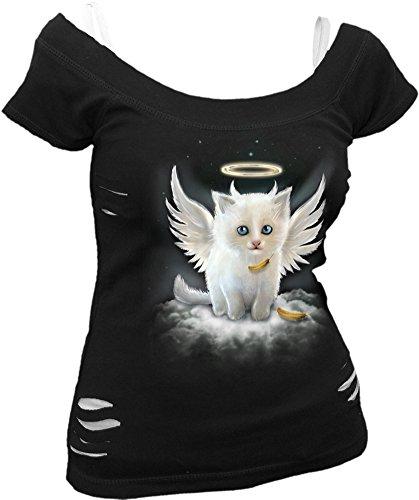 Spiral - Womens - Kitten Angel - 2in1 White Ripped Top Black - ()