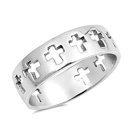 - Eternity Cross Cutout Christian Ring New .925 Sterling Silver Band Size 7