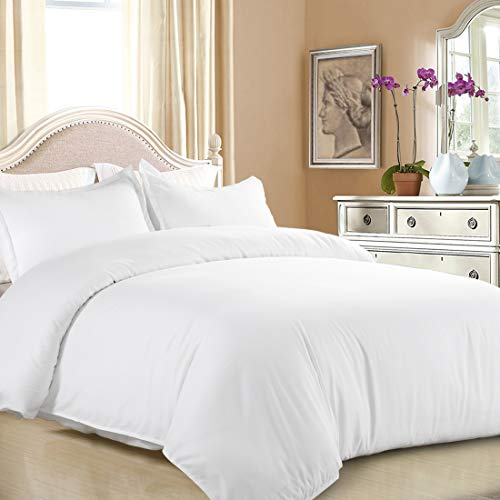 EASELAND Duvet Cover Set Queen White Lightweight and Soft 3 Pcs-1 Microfiber Duvet Cover Matching 2 Pillowcase Wrinkle, Fade, Stain Resistant.( Without Duvet and Pillow (Queen Duvet Cover Plain White)