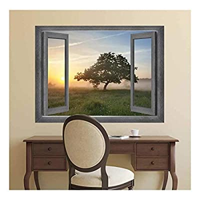 Open Window Creative Wall Decor Misty Field at Sunset Wall Mural, Crafted to Perfection, Pretty Piece