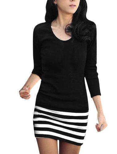 Allegra K Ladies Scoop Neck Full Sleeve Textured Stripes Mini Dress M Black