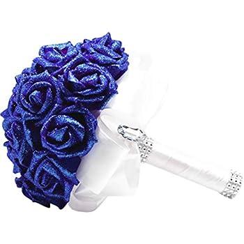 919f36f69f ZTTONE Crystal Roses Pearl Bridesmaid Wedding Bouquet Bridal Artificial  Silk Flowers De (Blue)