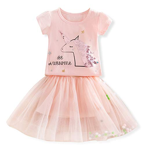 (TTYAOVO Baby Girls' Unicorn Clothing Sets/Outfits with Pink Tops + Layered Pom Pom Puff Ball Tutu Skirts Size 2-3 Years)